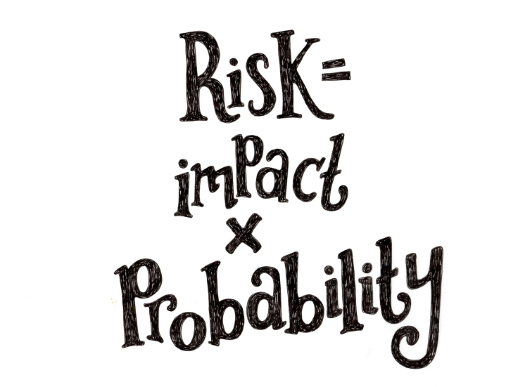 Risk equals impact times probability